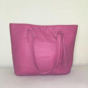 Handbags - Pink Vegan Leather Tassel Bag
